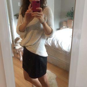 Black faux leather mini-skirt